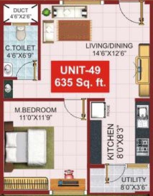 psr aster apartment 1bhk 635sqft101