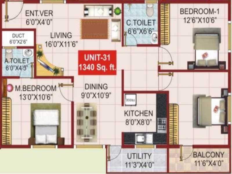psr aster apartment 3bhk 1340sqft101