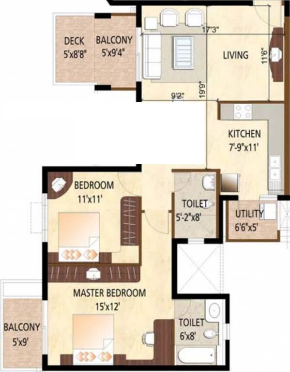 puravankara high crest apartment 2 bhk 1160sqft 20204910134958