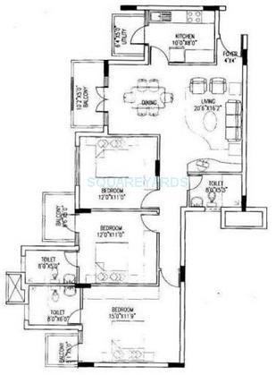 puravankara krishna revara apartment 3bhk 1560sqft1