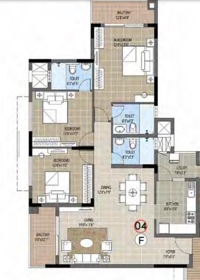 puravankara palm beach apartment 3 bhk 1224sqft 20214923114937
