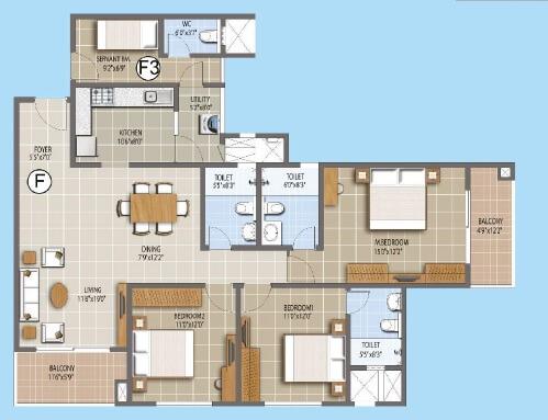 puravankara palm beach apartment 3bhk sq 1335sqft 1
