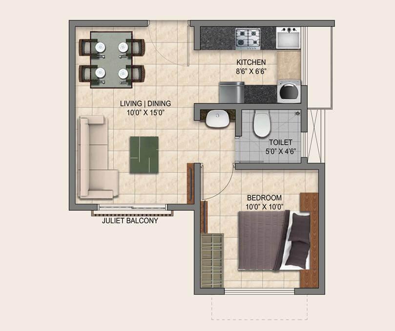 1 Bhk 525 Sq Ft Apartment In Puravankara Provident Park Square