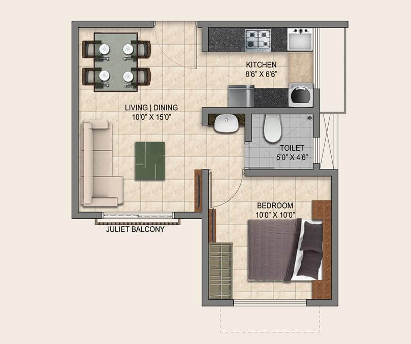 puravankara provident park square apartment 1bhk 525sqft 1