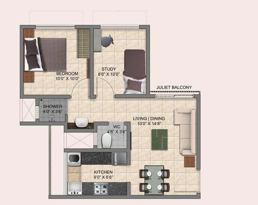 puravankara provident park square apartment 1bhk st 700sqft 1