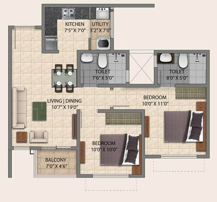 puravankara provident park square apartment 2bhk 900sqft 1