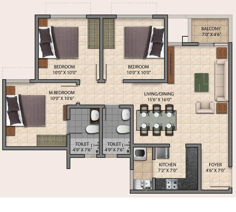 puravankara provident park square apartment 3bhk 1100sqft 1
