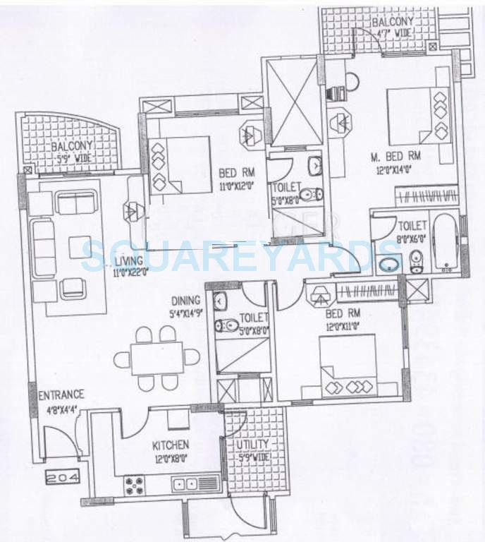 puravankara purva fountain square apartment 3bhk 1694sqft1