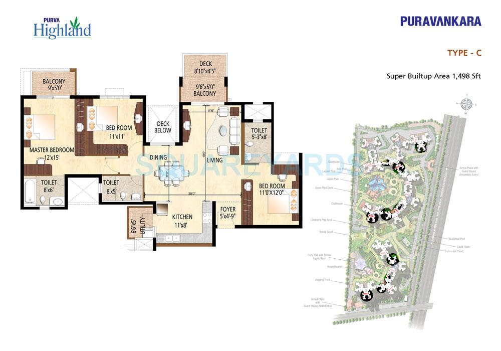 puravankara purva highland apartment 3bhk 1498sqft1