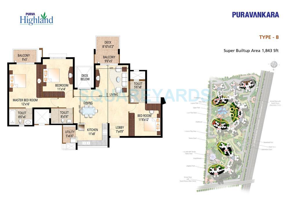 puravankara purva highland apartment 3bhk 1843sqft1