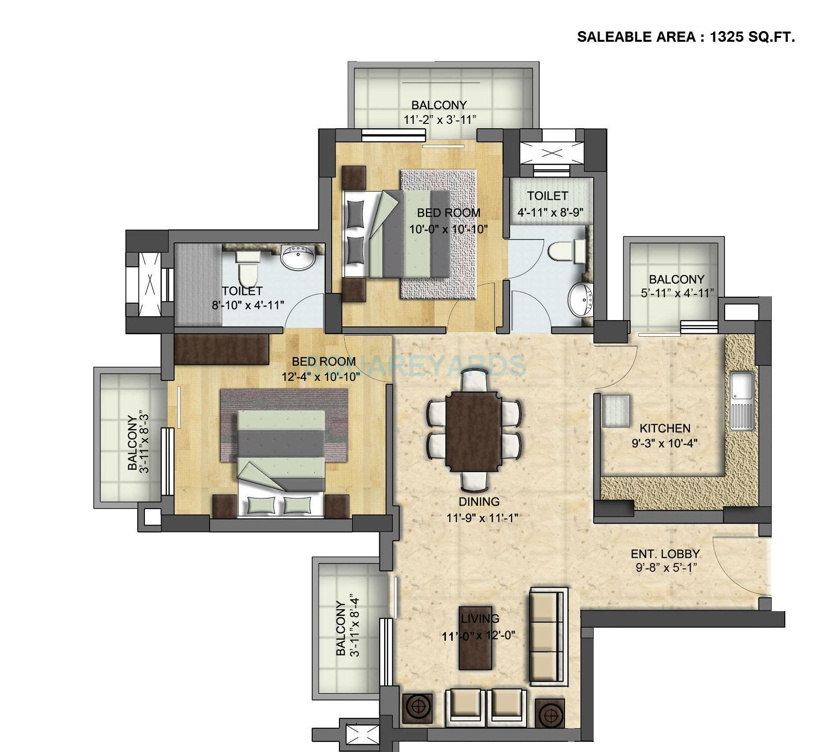 puravankara purva panorama apartment 2bhk 1325sqft1