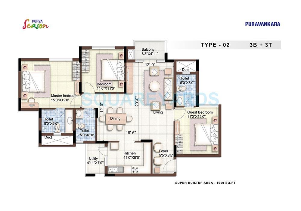 puravankara purva season apartment 3bhk 1659sqft1