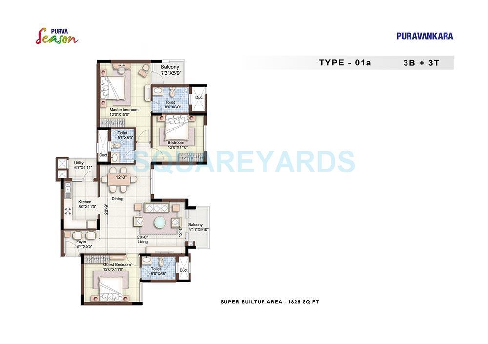 puravankara purva season apartment 3bhk 1825sqft1