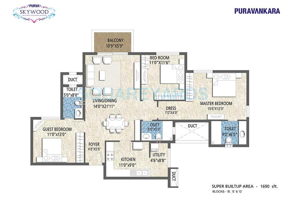 puravankara purva skywood apartment 3bhk 1690sqft1
