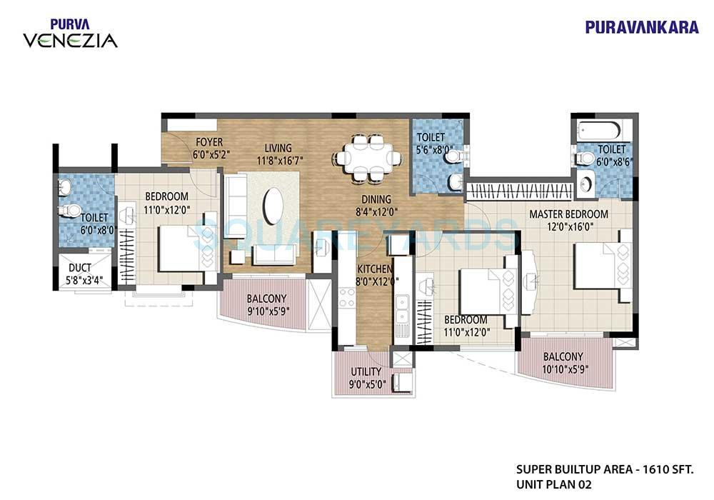 puravankara purva venezia apartment 3bhk 1614sqft1