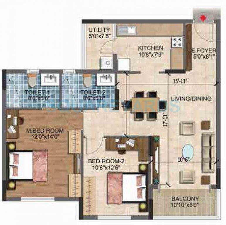 puravankara purva westend apartment 2bhk 1195sqft1