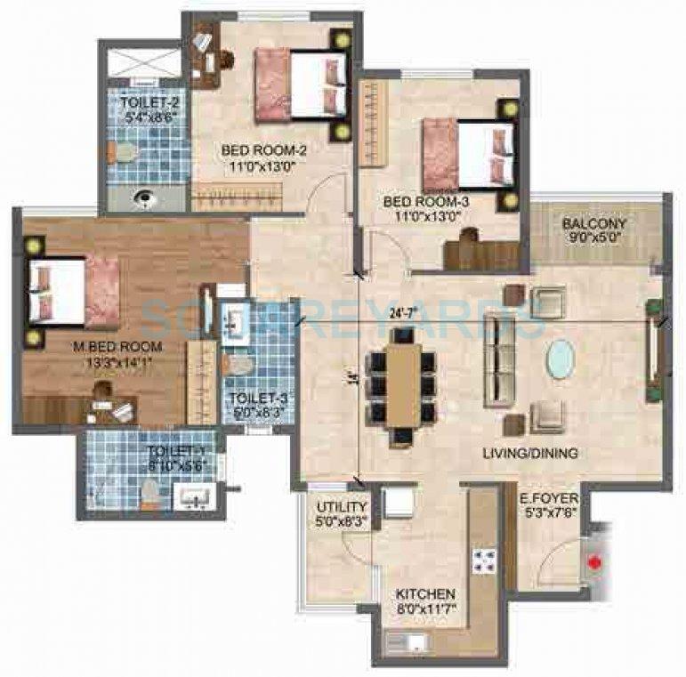 puravankara purva westend apartment 3bhk 1500sqft1