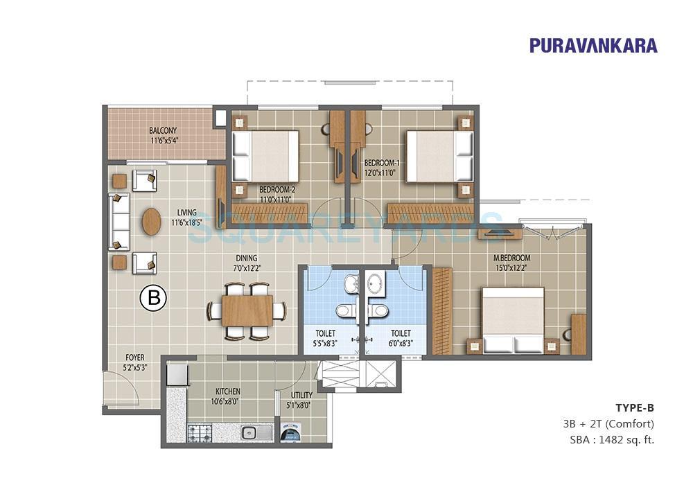 puravankara the waves apartment 3bhk 1482sqft1