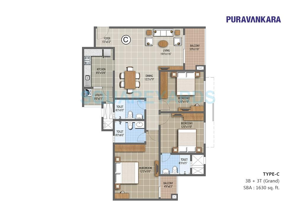 puravankara the waves apartment 3bhk 1630sqft1