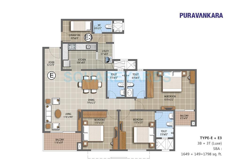 puravankara the waves apartment 3bhk 1788sqft1