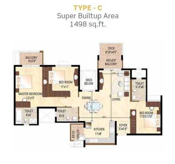 purva city of gold apartment 3 bhk 1498sqft 20203610073632