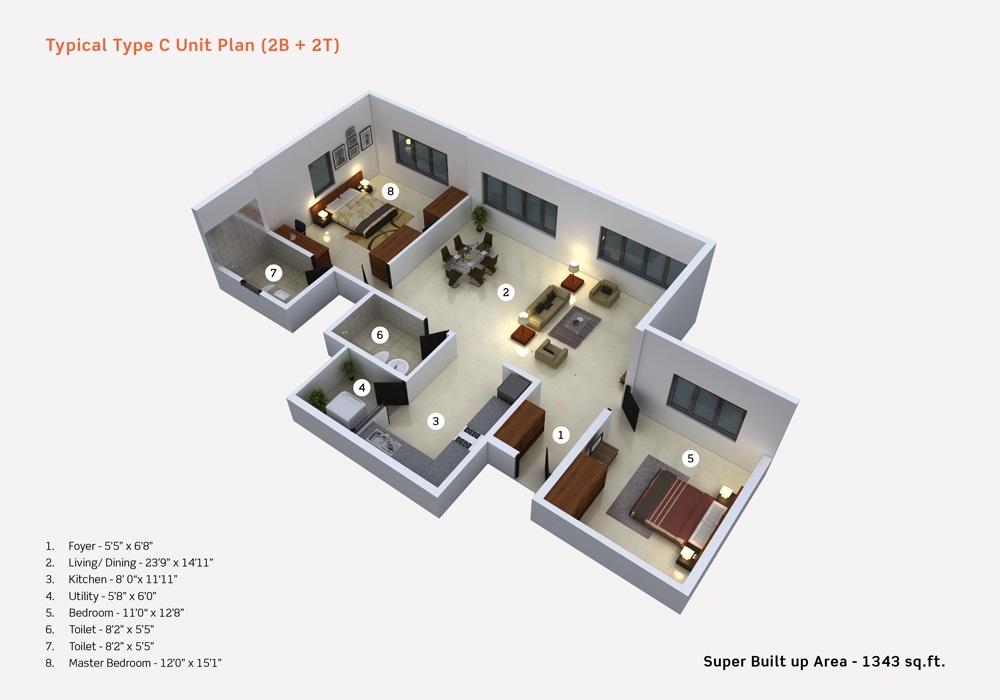 purva limousine homes apartment 2 bhk 1343sqft 20201111111139
