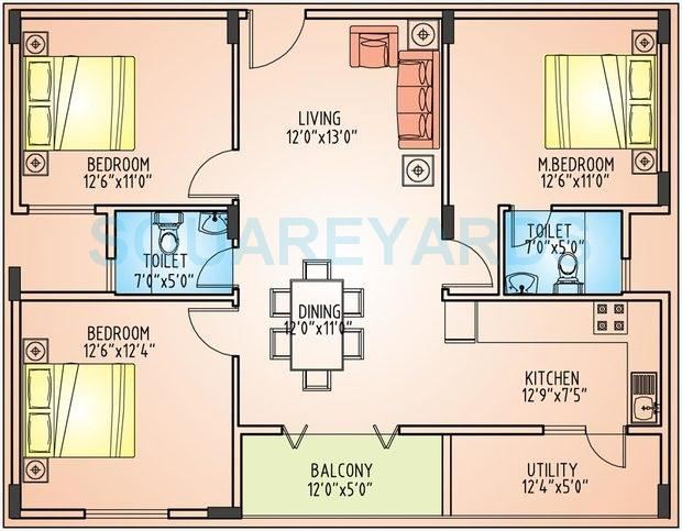 3 BHK 1250 Sq. Ft. Apartment Waterfall House Plan on lake plans, fireplace plans, fire plans, pond plans, beach plans, lagoon plans, grotto plans, park plans, gazebo plans,