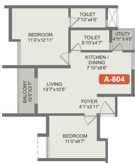 rohan akriti apartment 2bhk 642sqft 1