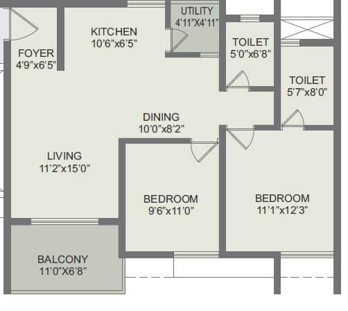 rohan akriti apartment 2bhk 730sqft 1