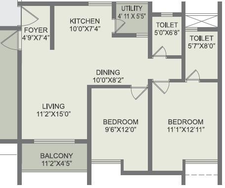 rohan akriti apartment 2bhk 784sqft 1