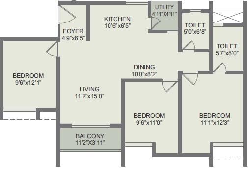 rohan akriti apartment 2bhk st 870sqft 1