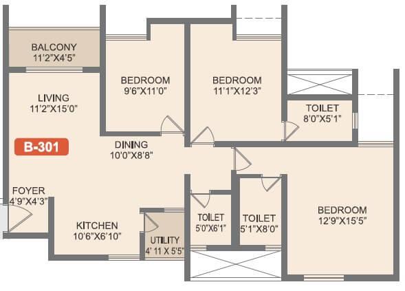rohan akriti apartment 3bhk 1031sqft 1