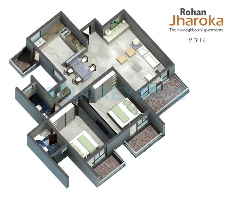 rohan jharoka apartment 2bhk 1235sqft1