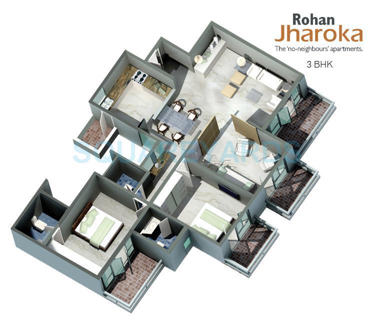 rohan jharoka apartment 3bhk 1640sqft1