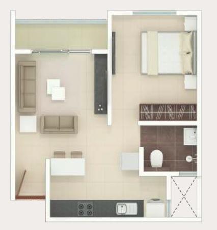 1 BHK 400 Sq. Ft. Apartment
