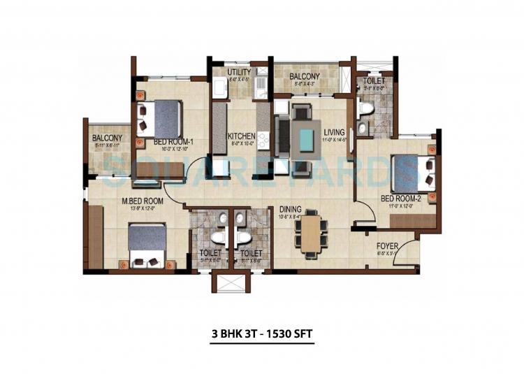 salarpuria east crest apartment 3bhk 1530sqft1