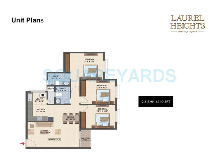 salarpuria laurel heights apartment 3bhk 1240sqft1