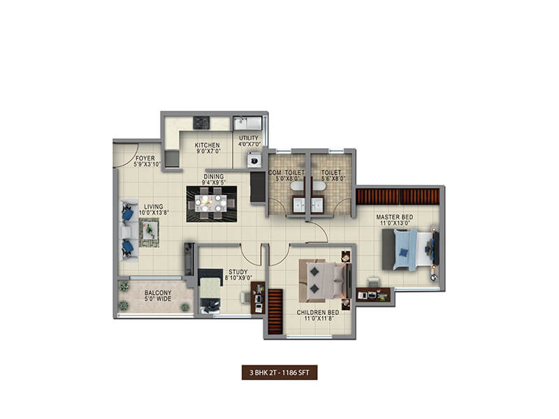 salarpuria sattva anugraha apartment 2bhk st 1186sqft 1