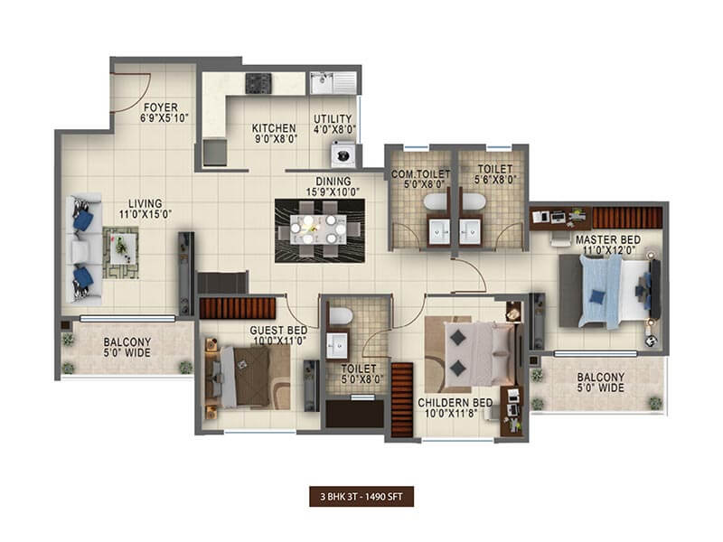 salarpuria sattva anugraha apartment 3bhk 1490sqft 1