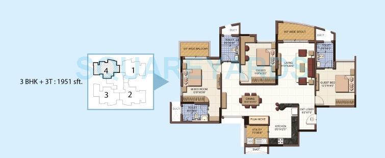 salarpuria sattva clarinet apartment 3bhk 1951sqft 1