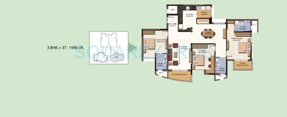 salarpuria sattva clarinet apartment 3bhk 1996sqft 1