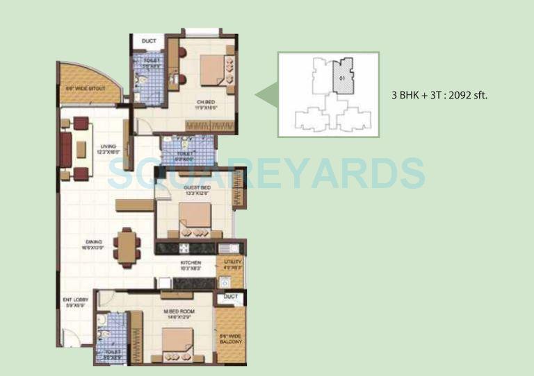 salarpuria sattva clarinet apartment 3bhk 2092sqft 1