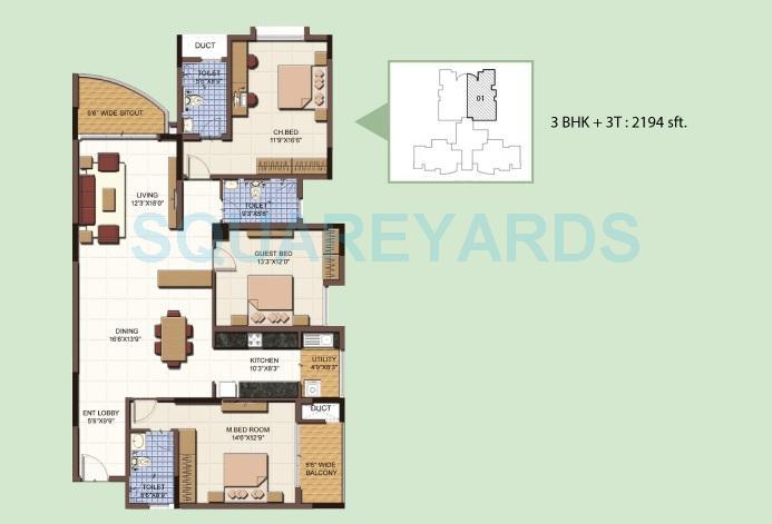 salarpuria sattva clarinet apartment 3bhk 2194sqft 1