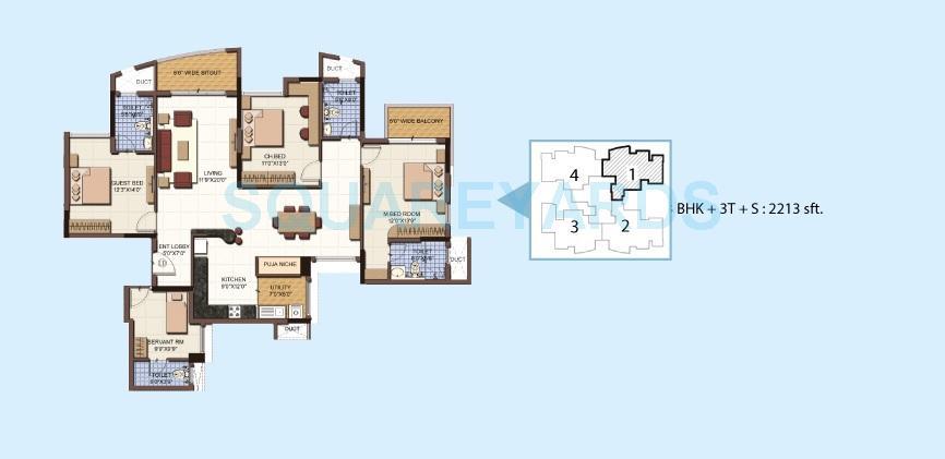 salarpuria sattva clarinet apartment 3bhk 2213sqft 1