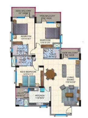 salarpuria sattva clarinet apartment 3bhk 2221sqft91