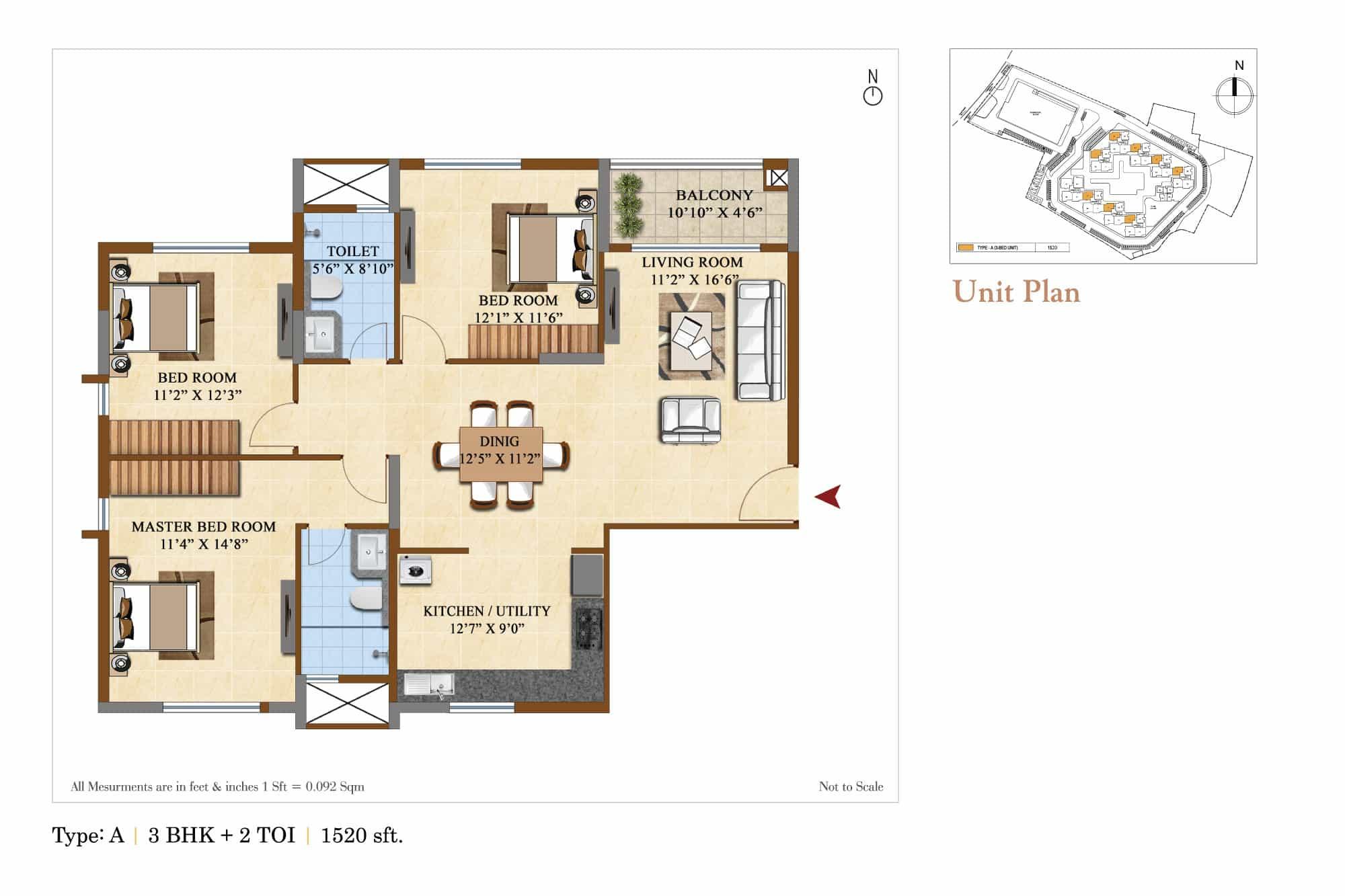 salarpuria sattva divinity apartment 2bhk 1520sqft 1