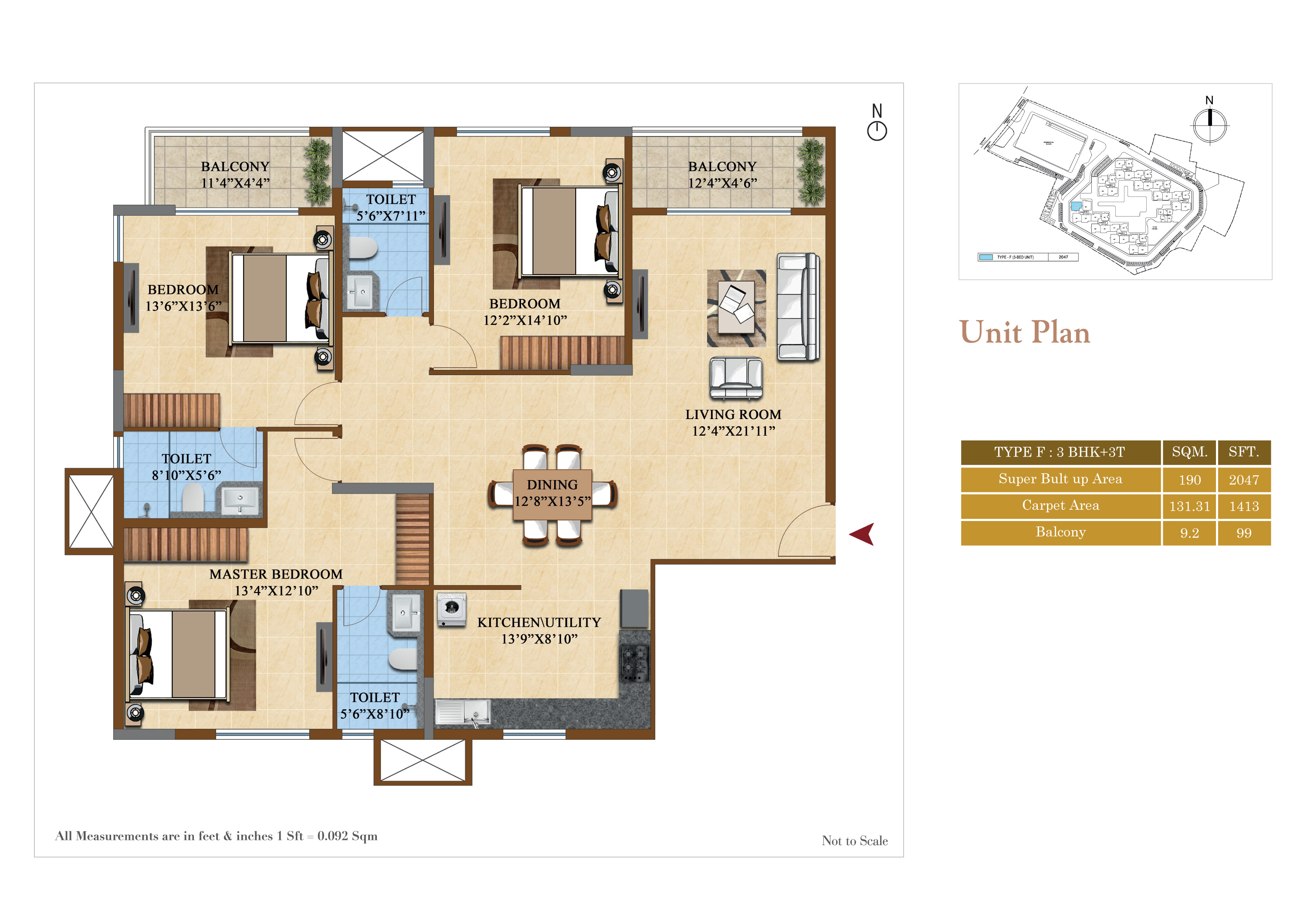 salarpuria sattva divinity apartment 3bhk 1413sqft141