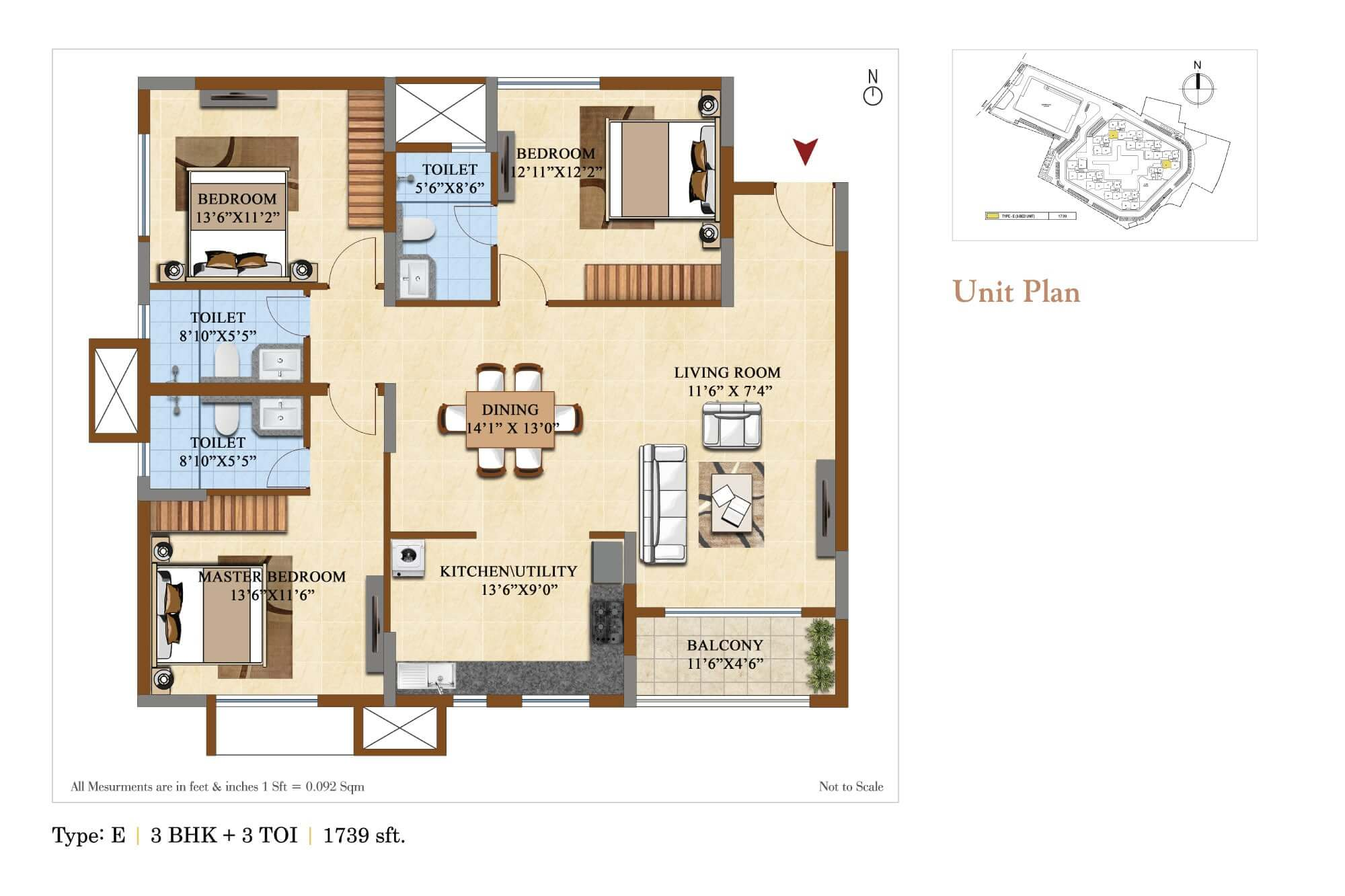 salarpuria sattva divinity apartment 3bhk 1739sqft 1