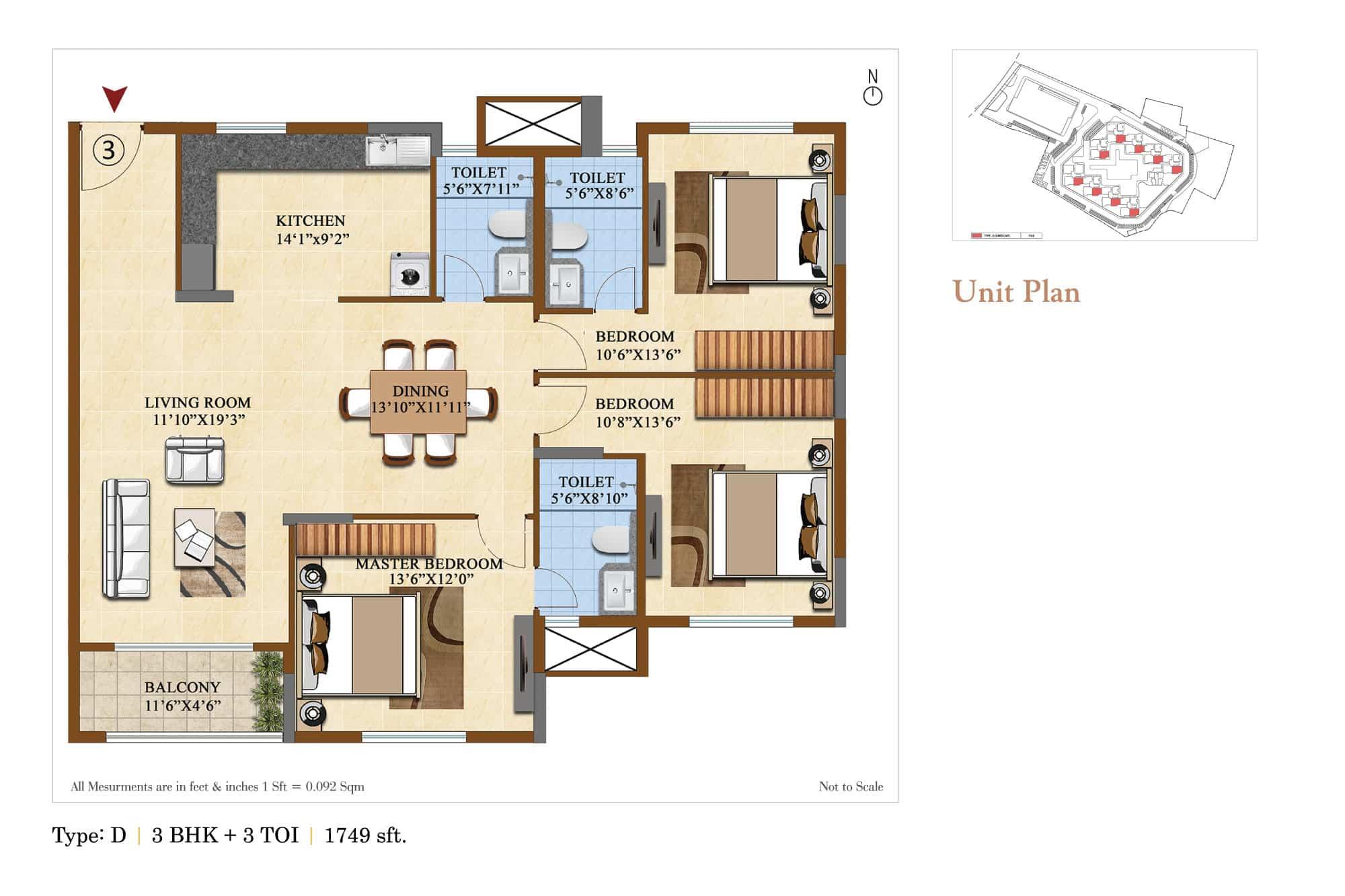 salarpuria sattva divinity apartment 3bhk 1749sqft 1