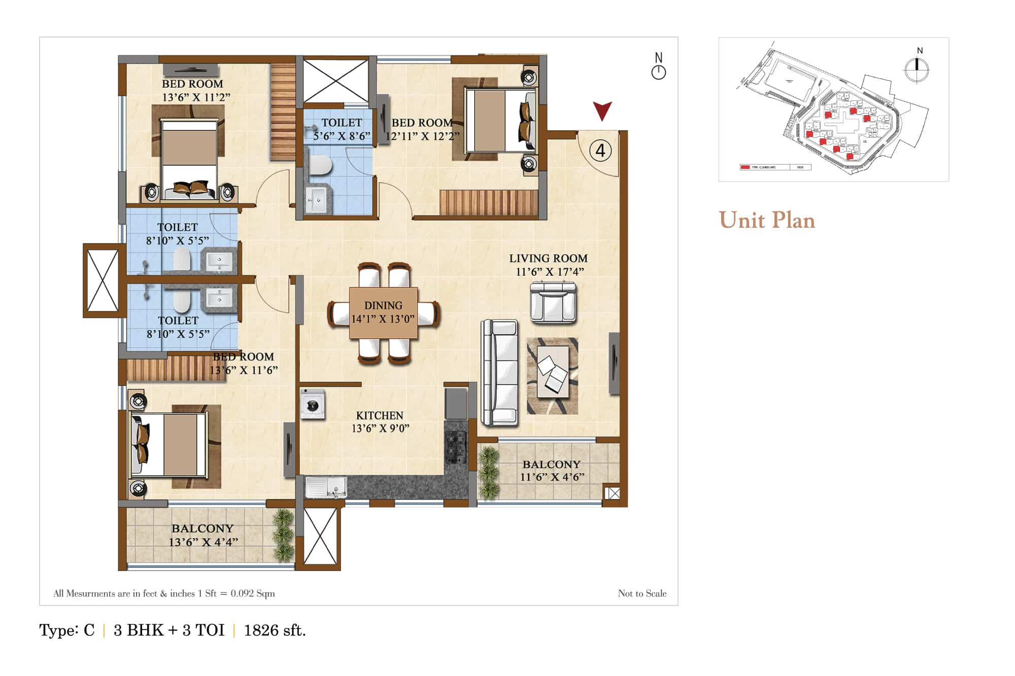 salarpuria sattva divinity apartment 3bhk 1826sqft 1